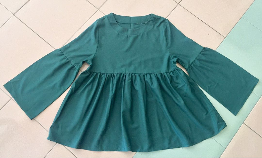 074d8e798d174 Babydoll Blouse (Emerald Green)