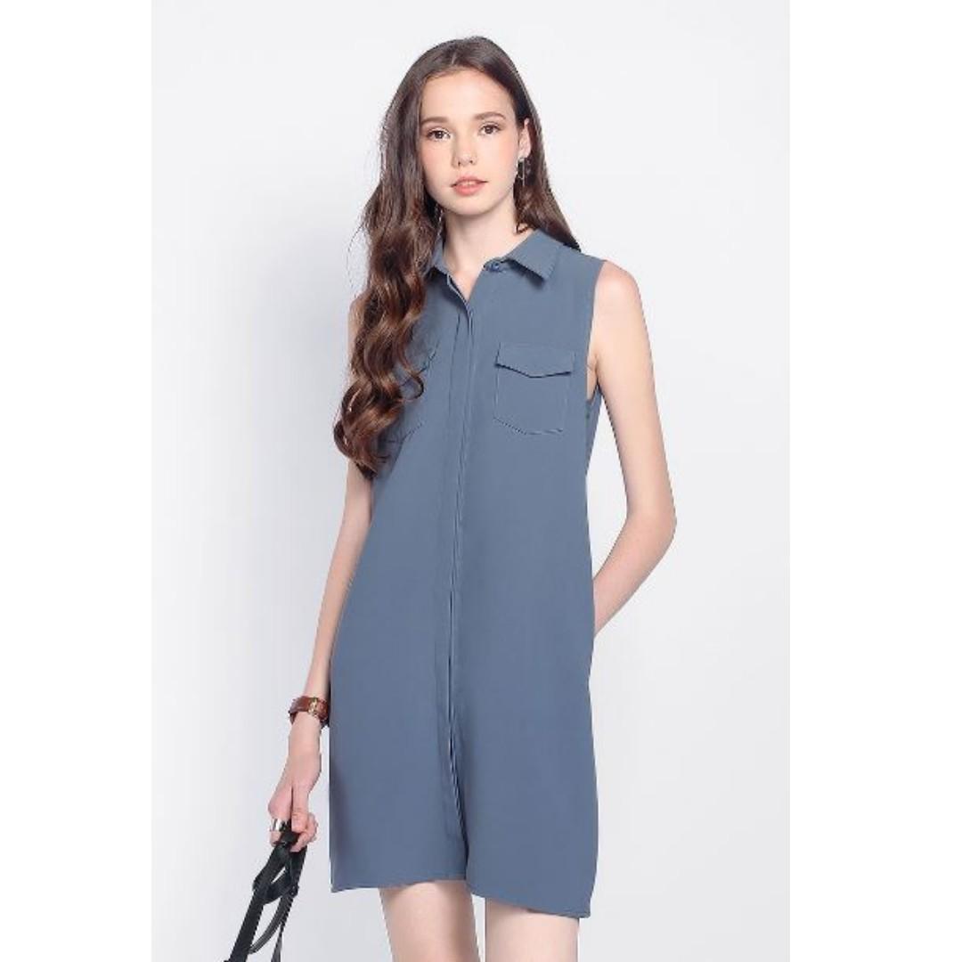 0cc60bc647023 BNWT Fayth Highlanders Utility Shirt Dress in Ash Blue