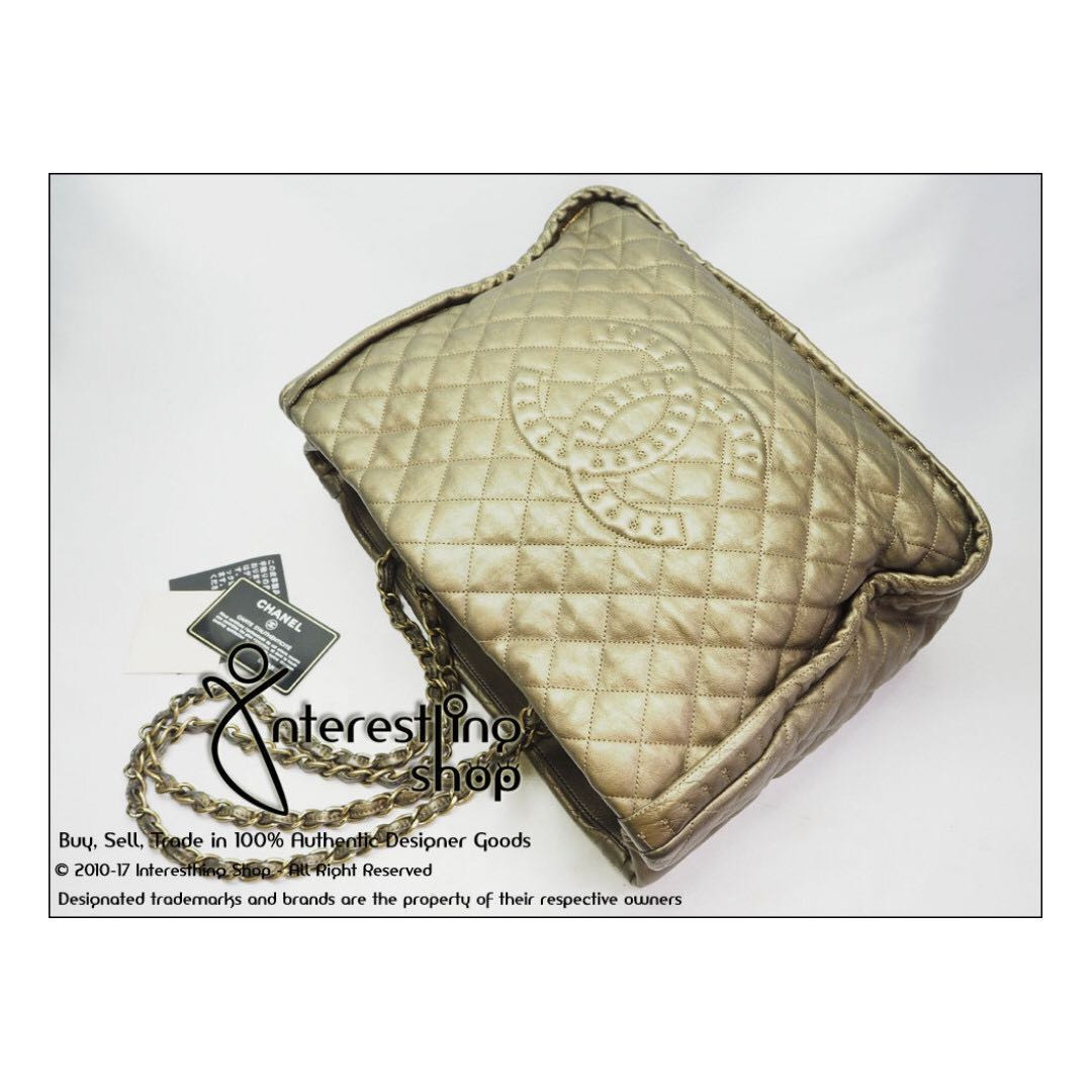 e5732db5d32a 4621-01. Authentic Pre-Owned Chanel Metallic Quilted Lambskin Large ...