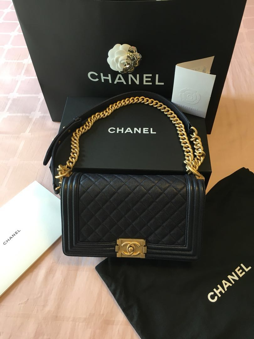 a97bcac0453798 Chanel Navy Quilted Caviar Old Medium Boy Bag, Luxury, Bags ...