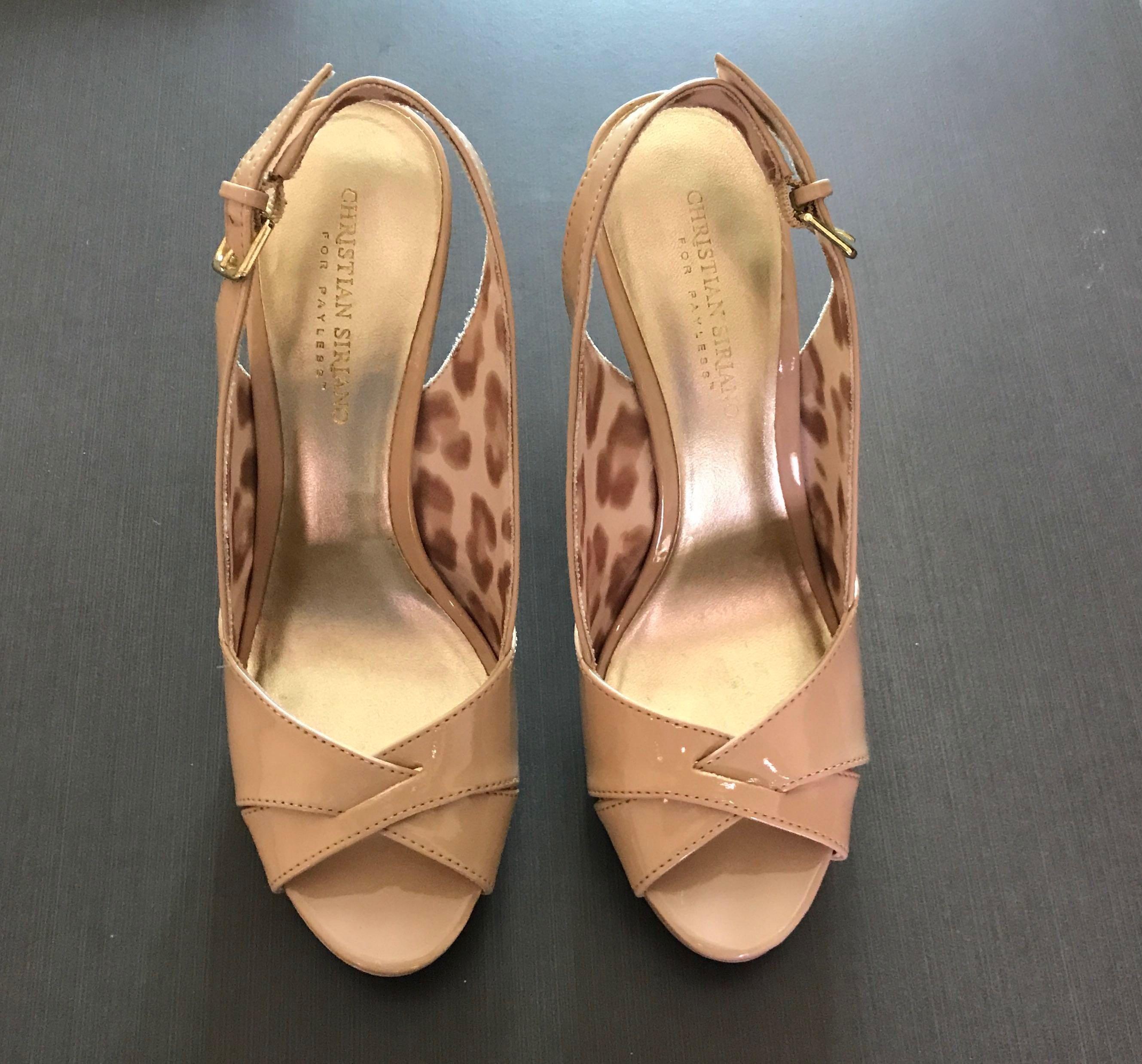 8d2c9df6aa Christian Siriano Payless classy nude patent peep toe heels, Women's ...