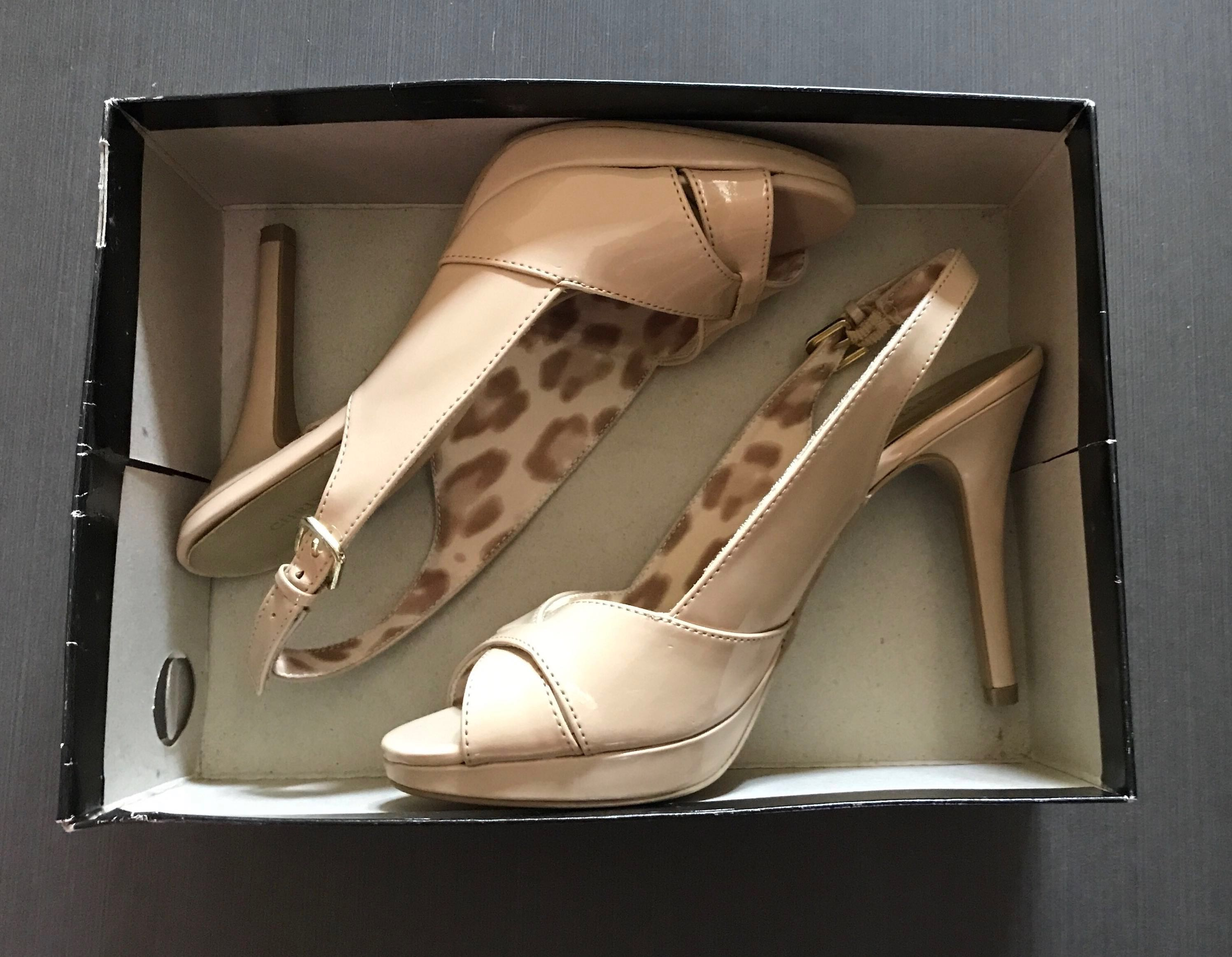 390afd75e8 Christian Siriano Payless classy nude patent peep toe heels, Women's  Fashion, Shoes on Carousell