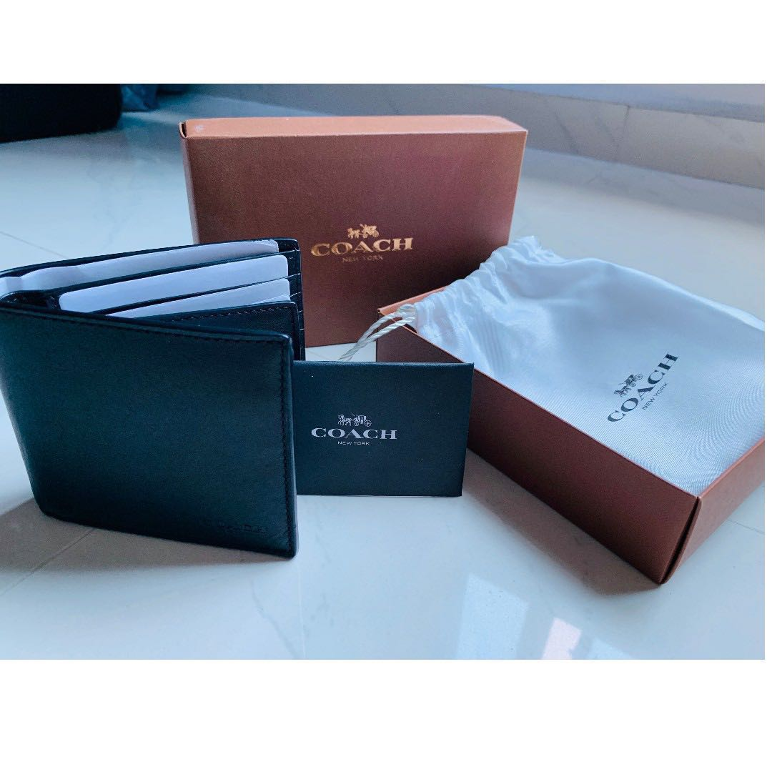 0b978660d7232 ... greece coach mens compact leather id wallet black 74896 mens fashion  bags wallets wallets on carousell usa image is loading new coach men ...