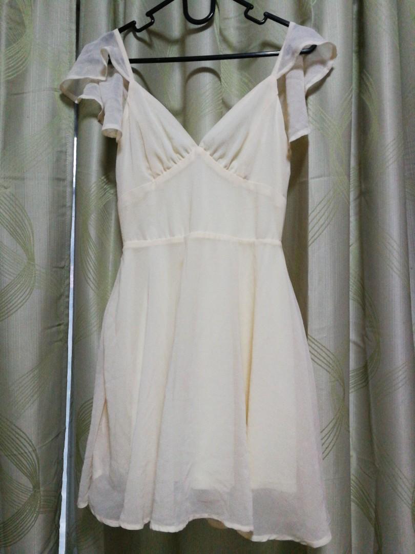 88a604b7ac6ea Cream Chiffon Dress with Heart Shaped Neckline, Women's Fashion ...
