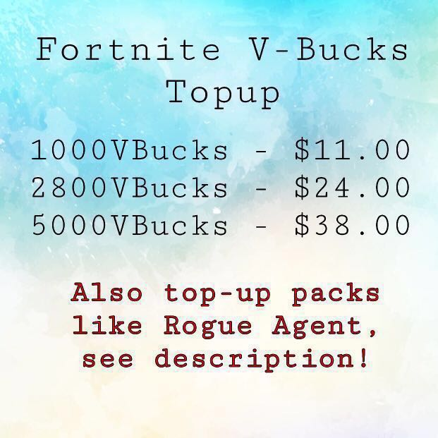 Fortnite V Bucks Top Up Pc Toys Games Video Gaming In Game