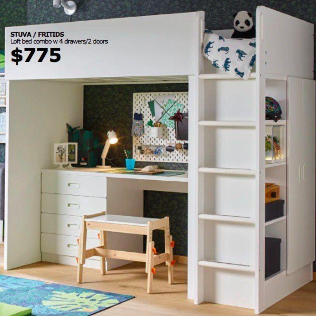 Picture of: Ikea Stuva Fritids Loft Bed Combo Furniture Beds Mattresses On Carousell
