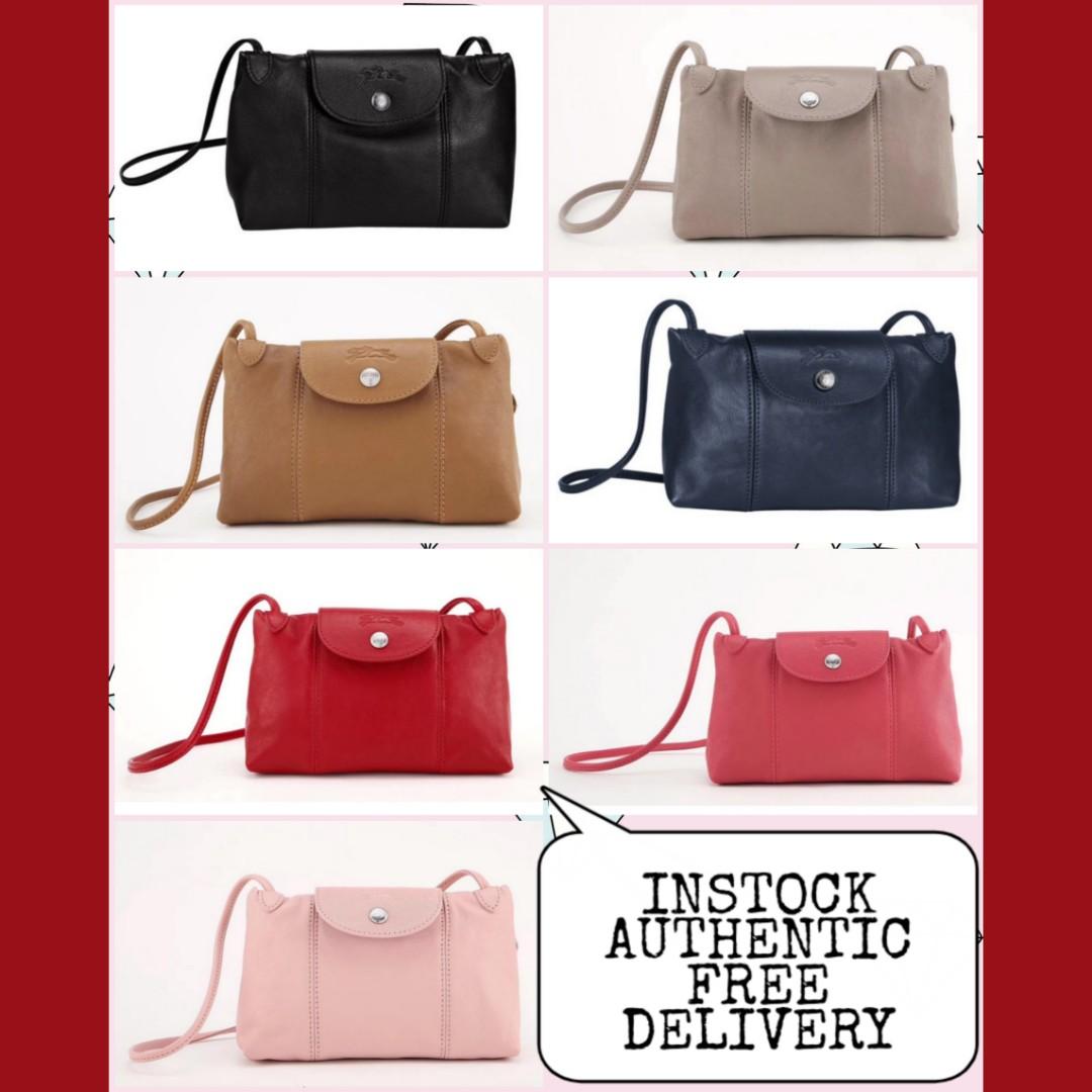 b86c27e13b8 Instock Authentic Longchamp Le Pliage Cuir Leather Crossbody Bag ...