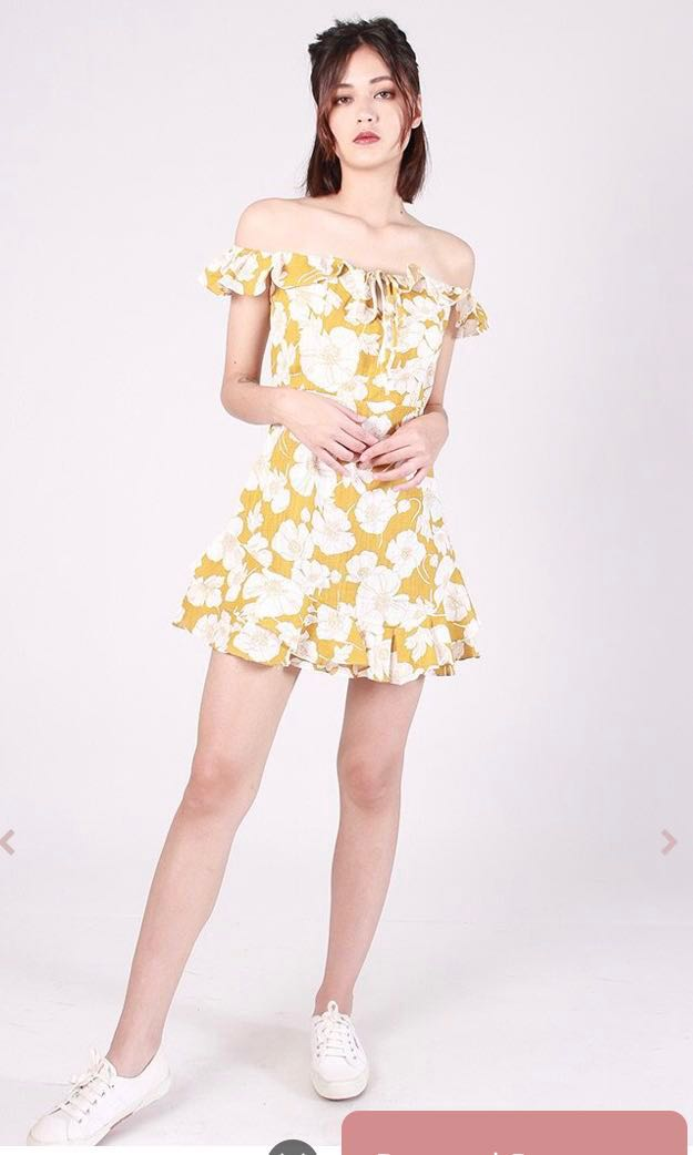 ca61fa96c439 Kissablebella Ichico Floral Off Shoulder Dress (Yellow)