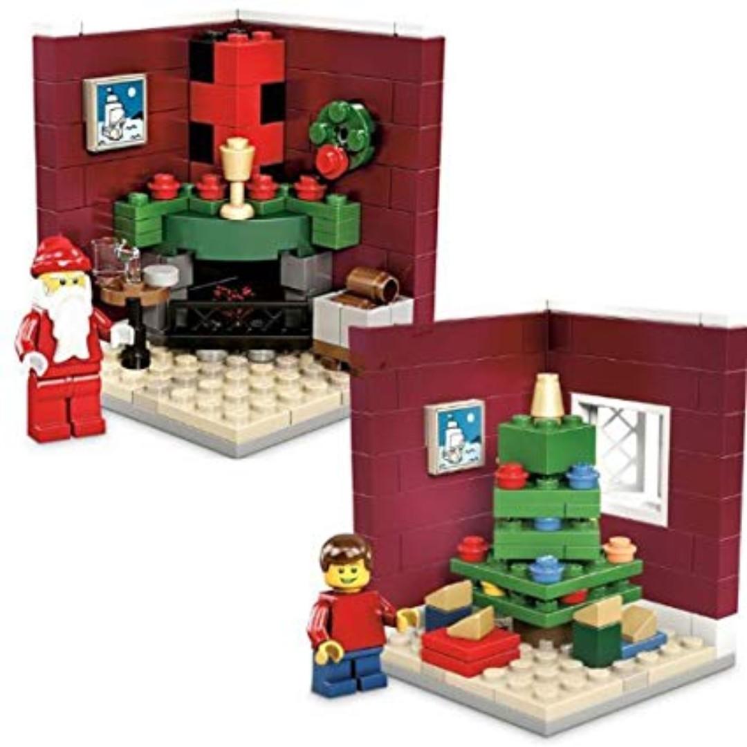 48b238681e6 Lego Christmas Fire Place Scene Set   3300002 + 3300020 Limited Edition  Holiday (santa minifig tree fireplace)