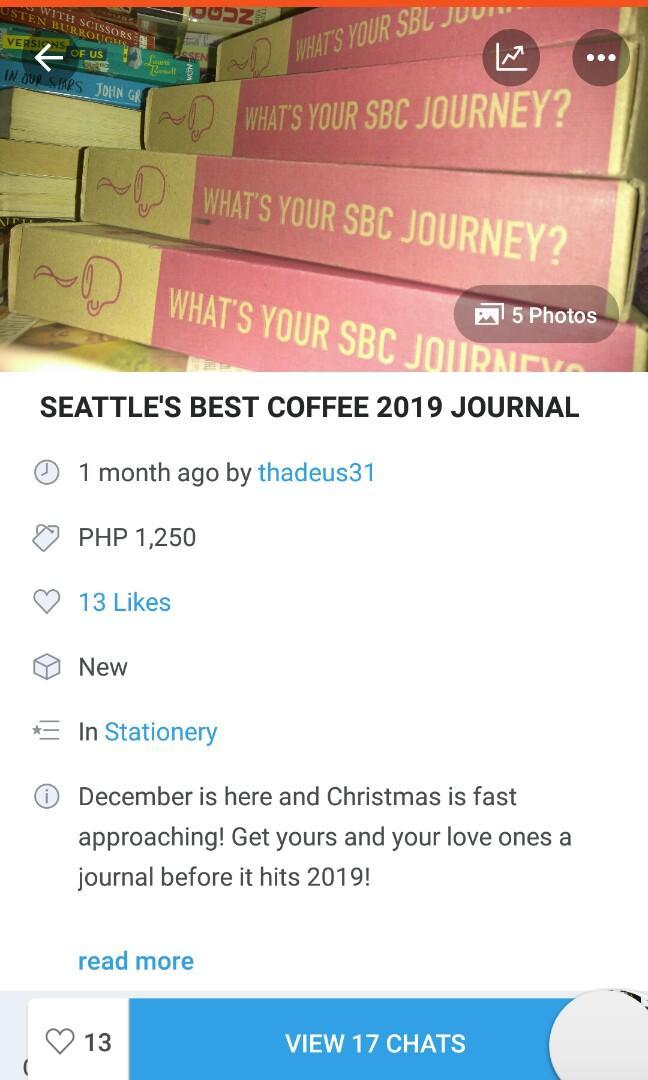 LIMITED STOCKS LEFT: 2019 SEATTLE'S BEST COFFEE JOURNAL