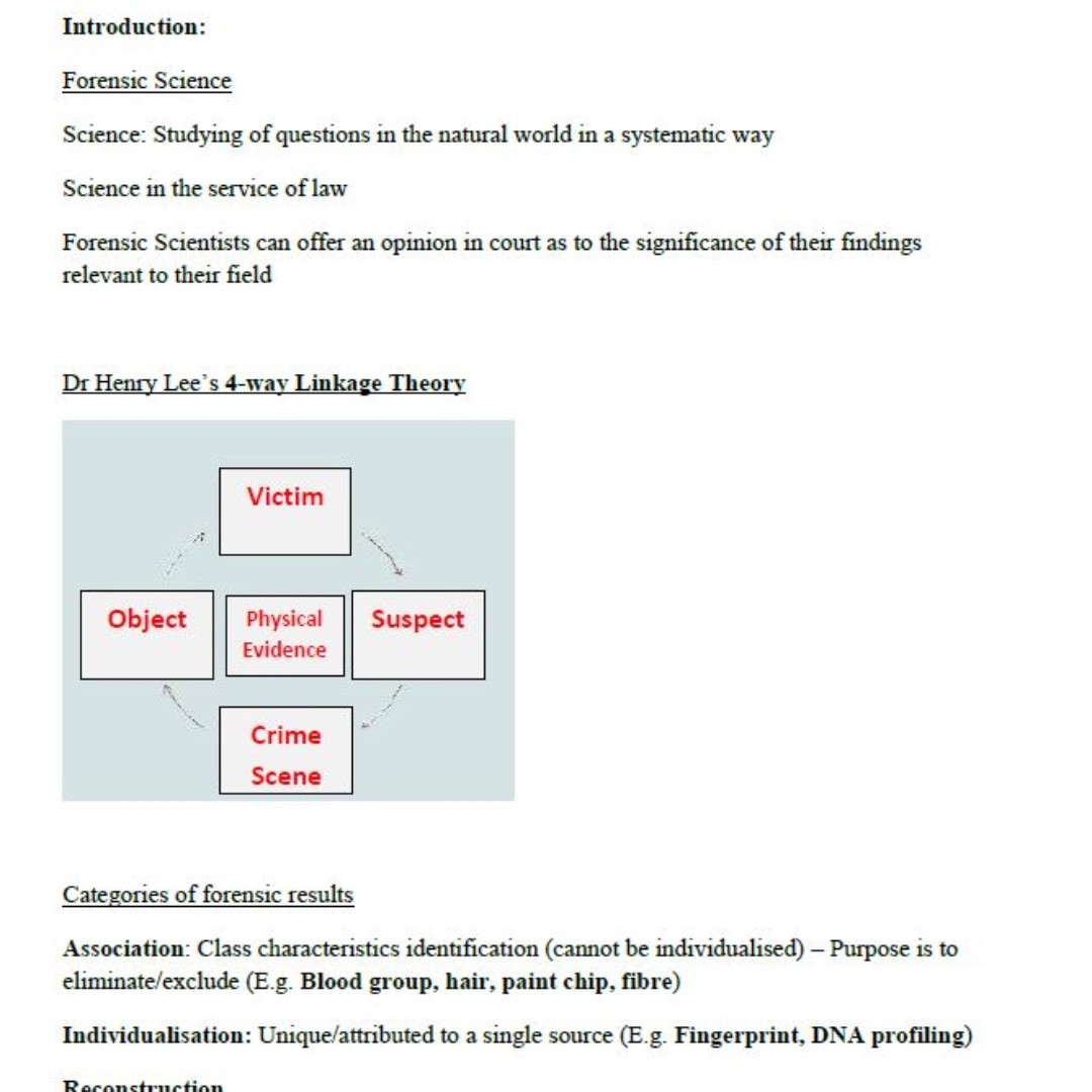 LSM1306 Forensic Science Notes