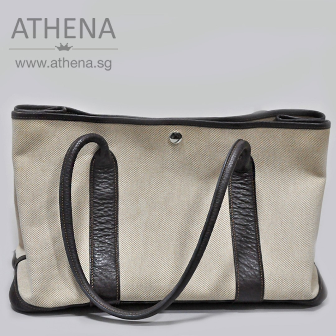 NEW YEAR SALES !!! HERMES TOILE H CANVAS GARDEN PARTY 36 SHOULDER ... ca11cddc74fb9