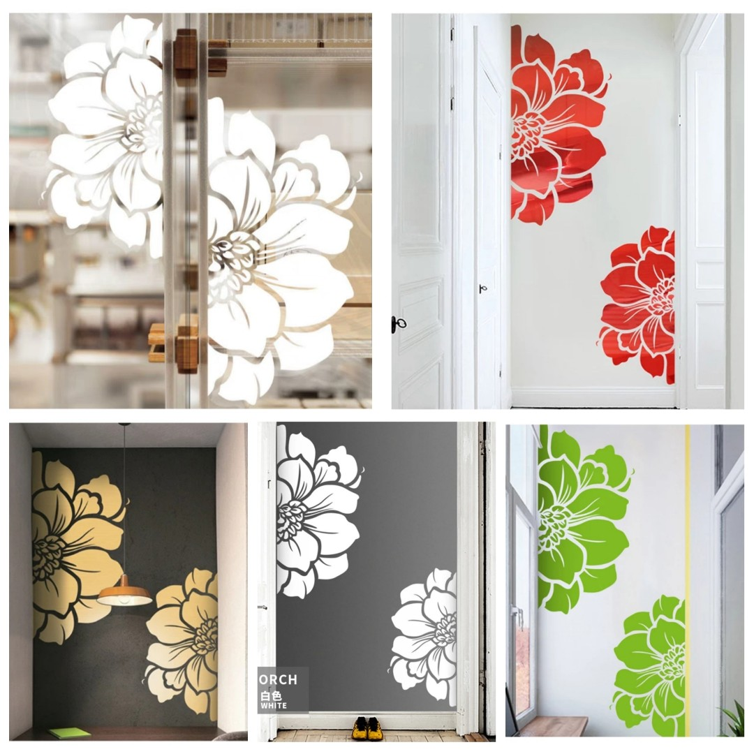 Po Around 2weeks Flower Kitchen Sliding Glass Sliding Door Sticker