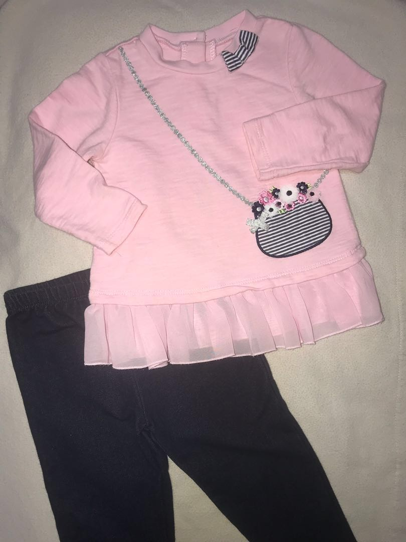196af7c58dc22 Preloved Cute Little Me Baby Girls 18-mth Two piece Long Sleeve Knit ...