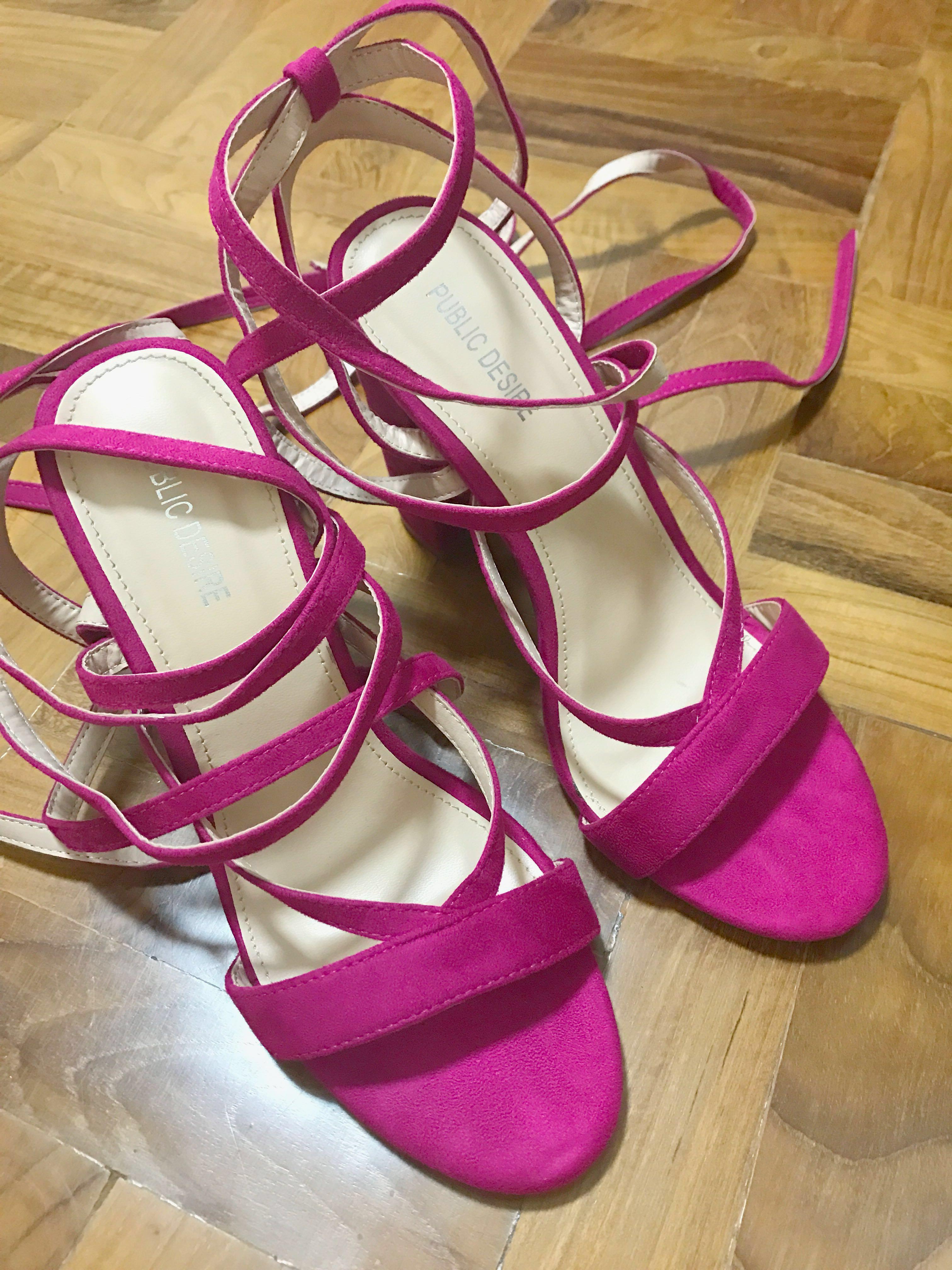 Desire Fuschia Strappy Block Heels