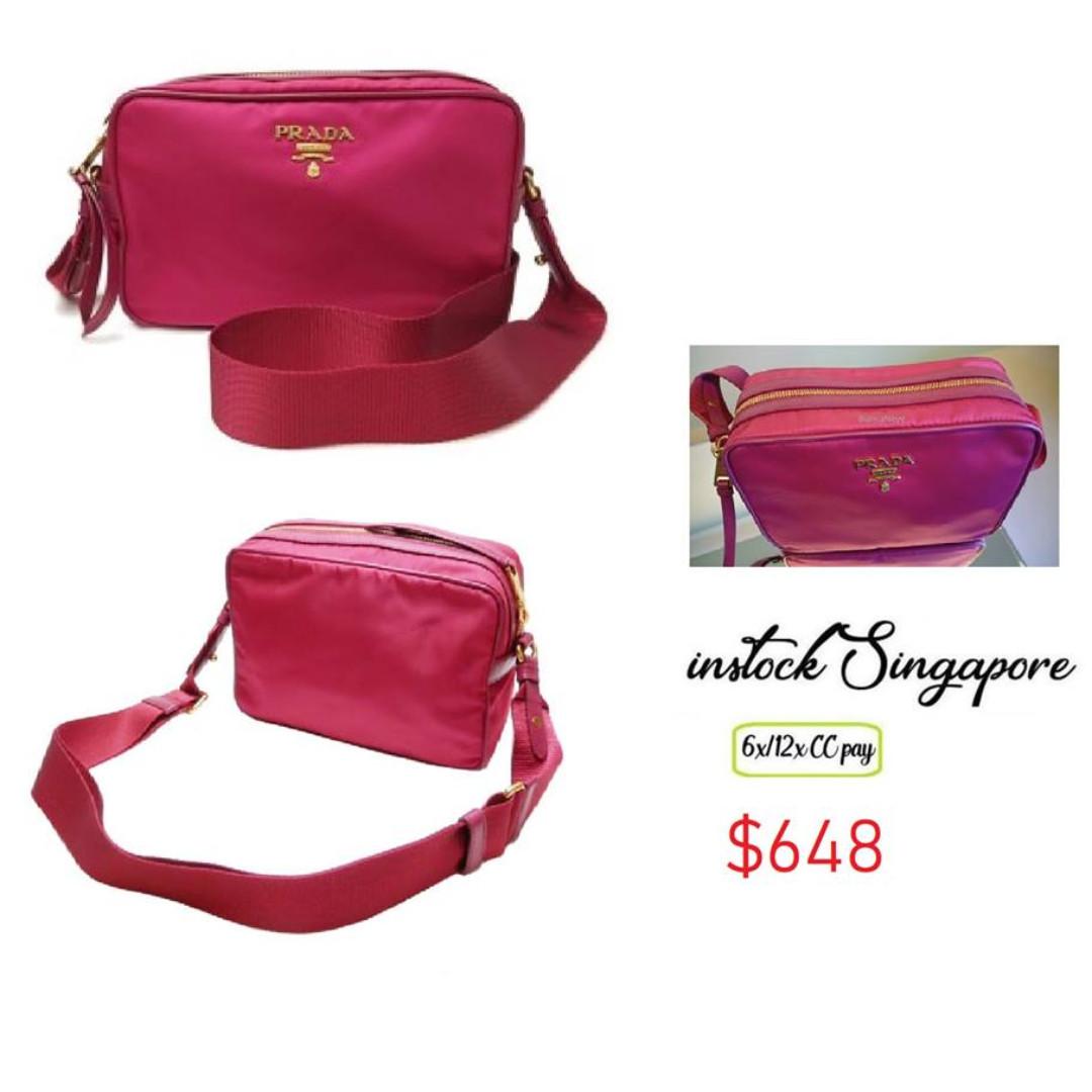 5b0d7528244a READY STOCK authentic new Prada Women's Tessuto 1bh089 dark pink ...