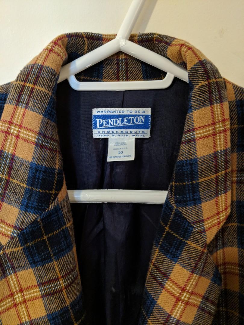 Vintage Pendleton 100% Virgin Wool Plaid Blazer w/ Front Pockets (Size 10)