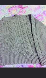 🚚 抹茶綠落肩麻花針織毛衣