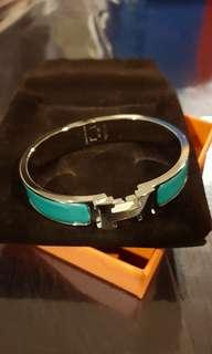 Hermes Clic Clac in turquoise enamel and PHW (PM)