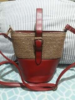 Rattan and Leather Wooven Bag