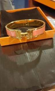 Hermes Clic Clac in Pink Enamel with GHW (PM)