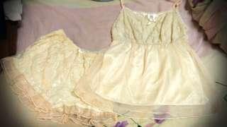 🚚 BAI. 白媽 雪紡 蕾絲 米色  睡衣 居家服