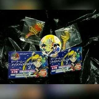 美少女戰士 日版 扭蛋 鐵牌 新月棒 螺旋愛心月權杖 Bandai 香港沒發售