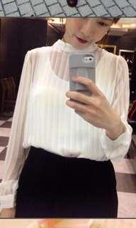 🚚 轉售從前從前白色透膚條紋上衣長袖雪紡超級美