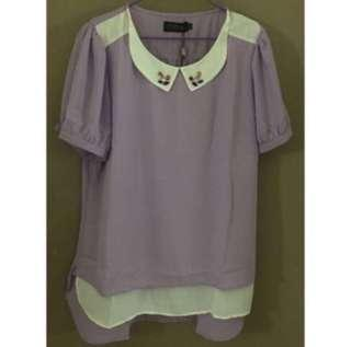 🚚 Plus Size Lilac Chiffon Top With Jewelled Collars