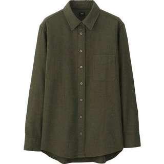 Army green · UNIQLO Women's Flannel Long Sleeve Shirt