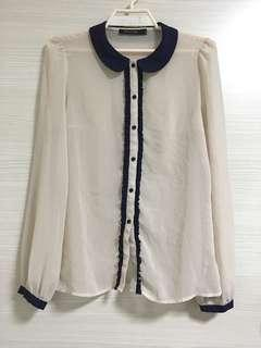 Long Slv Chiffon Beige Blouse W/Navy Collar