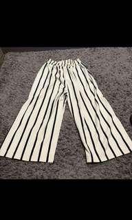 cream striped culottes