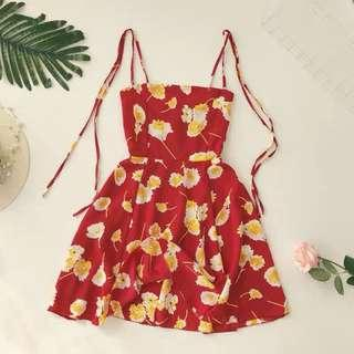 🚚 Po: ribbon tie strap floral dress