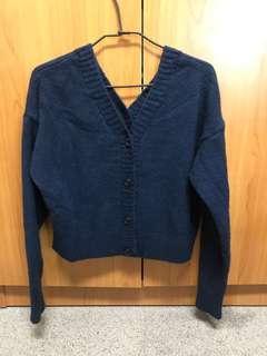 🚚 出清 近全新 雙面穿 藏青 藍綠 柔軟 V領 毛衣