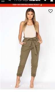 Fashion nova olive green cargo pants high waisted new