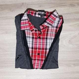 Grey Collared Short Sleeve Shirt with Red Checkered Design