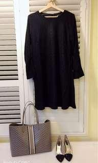 🚚 Net 亮線毛呢洋裝 小香風毛呢洋裝 黑色顯瘦 40 全新吊牌還在 寬鬆大碼