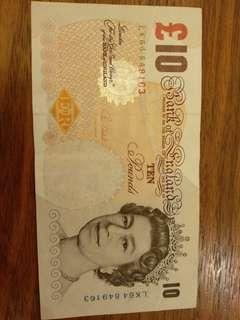 Used Bank of England £10 note