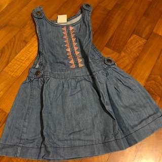 2T NEW Light Blue Denim Embroidered overalls dress