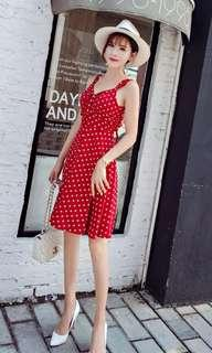 PO : Sizes Available From S To L. Super Sweet And Classy Korean Style M Cut Front/M Cut Neckline/M Neck/Sweetheart Neckline/Bustier Tied Open Back Polka Dots/Pokka Dots Skater/Flare/A Line Dress