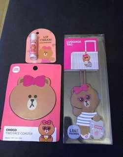 Line Friends choco lip cream, coaster, luggage tag 潤唇膏,杯墊,行李牌 $110 有晒3樣