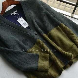 🚚 拼接撞色.莫蘭迪拼色.草綠色.羊駝毛羊毛外套