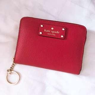Red kate spade coin/card holder with key ring zipper