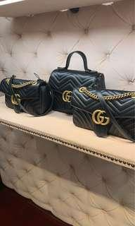 1 day PO! Authentic BN Gucci Marmont Matelasse Logo Chevron Leather Medium Handbag