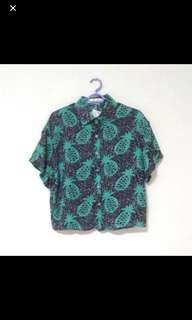 vintage pineapple button down top