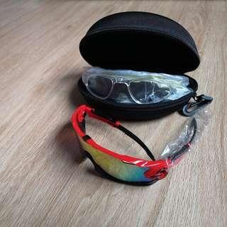 BNIB JBR Black/Red Sports UV400 Sunglasses Set With Myopic Inserts
