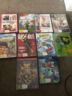 10 x DVD's including 1x blue ray 3D