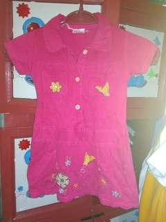 Dress pink kupu kupu anak