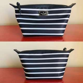Kate Spade New York Jodi Wilson Road French Stripe Nylon Cosmetic Bag - Brand New With Tags