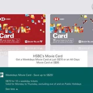 [Re-post] HSBC Movie Weekday Movie Card @ $70